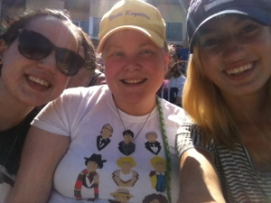 "Yesterday we enjoyed an ""extra day of vacation"" at a baseball game watching the Lake Eerie Crushers (an Independent, Minor League team). Here's a picture of the sisters!"